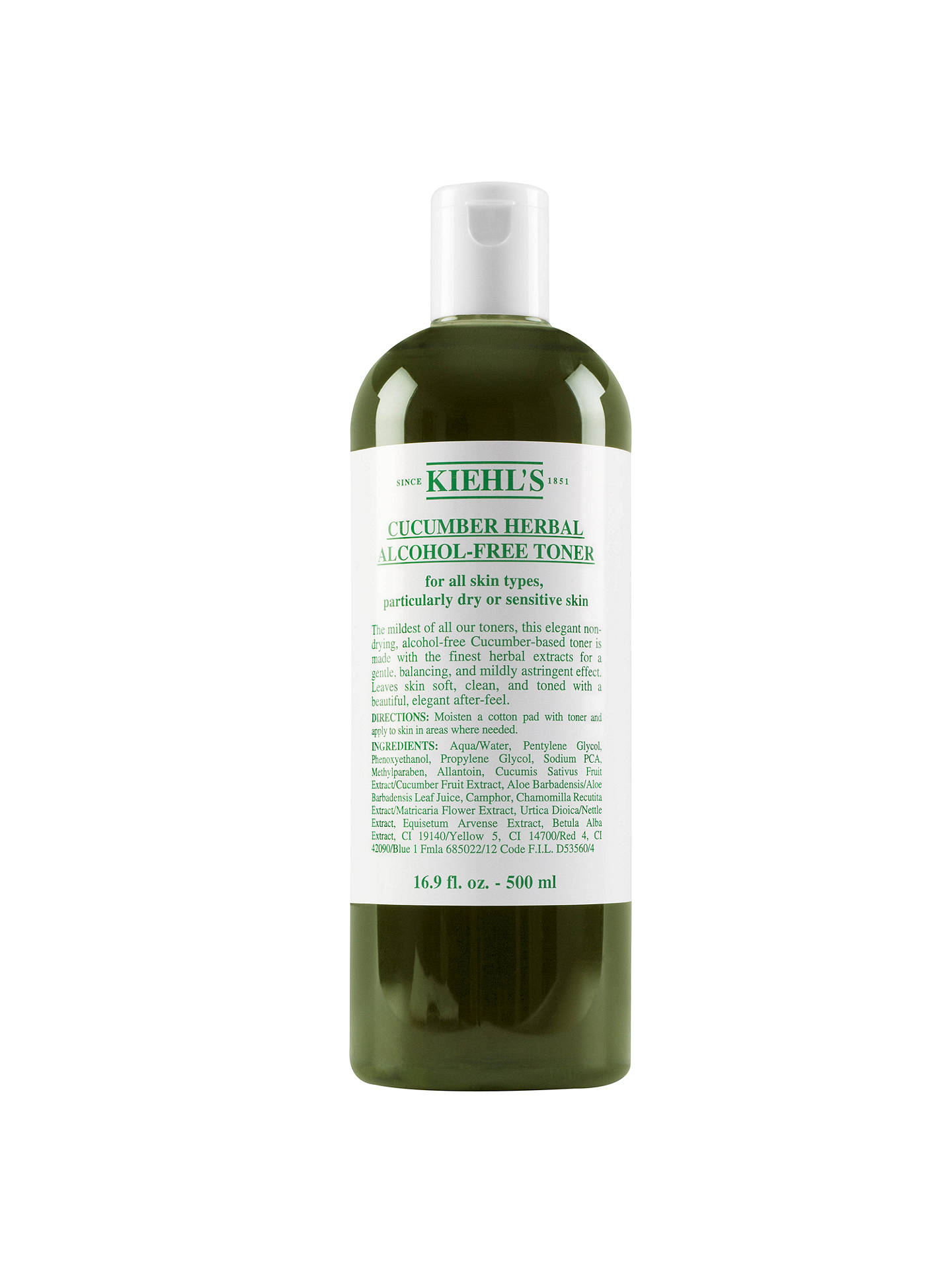 Buy Kiehl's Cucumber Herbal Alcohol-Free Toner, 500ml Online at johnlewis.com