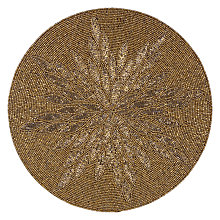 Buy John Lewis Patterned Glass Bead Placemat, Gold / White Online at johnlewis.com