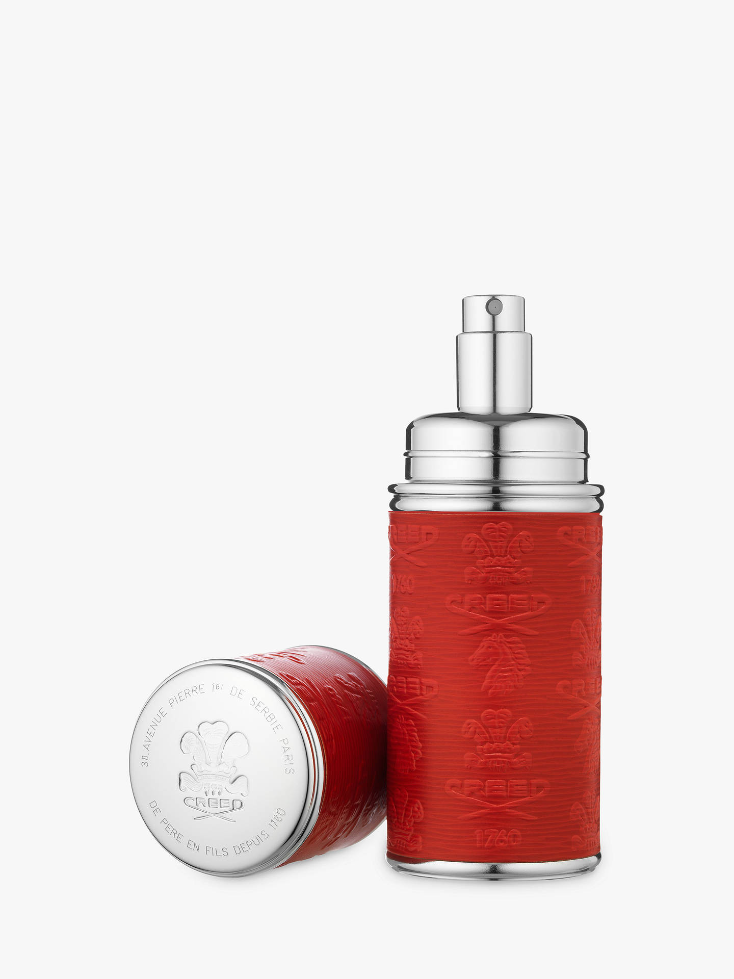 BuyCREED Silver Trim Leather Bound Refillable Atomiser, 50ml, Red/Silver Online at johnlewis.com