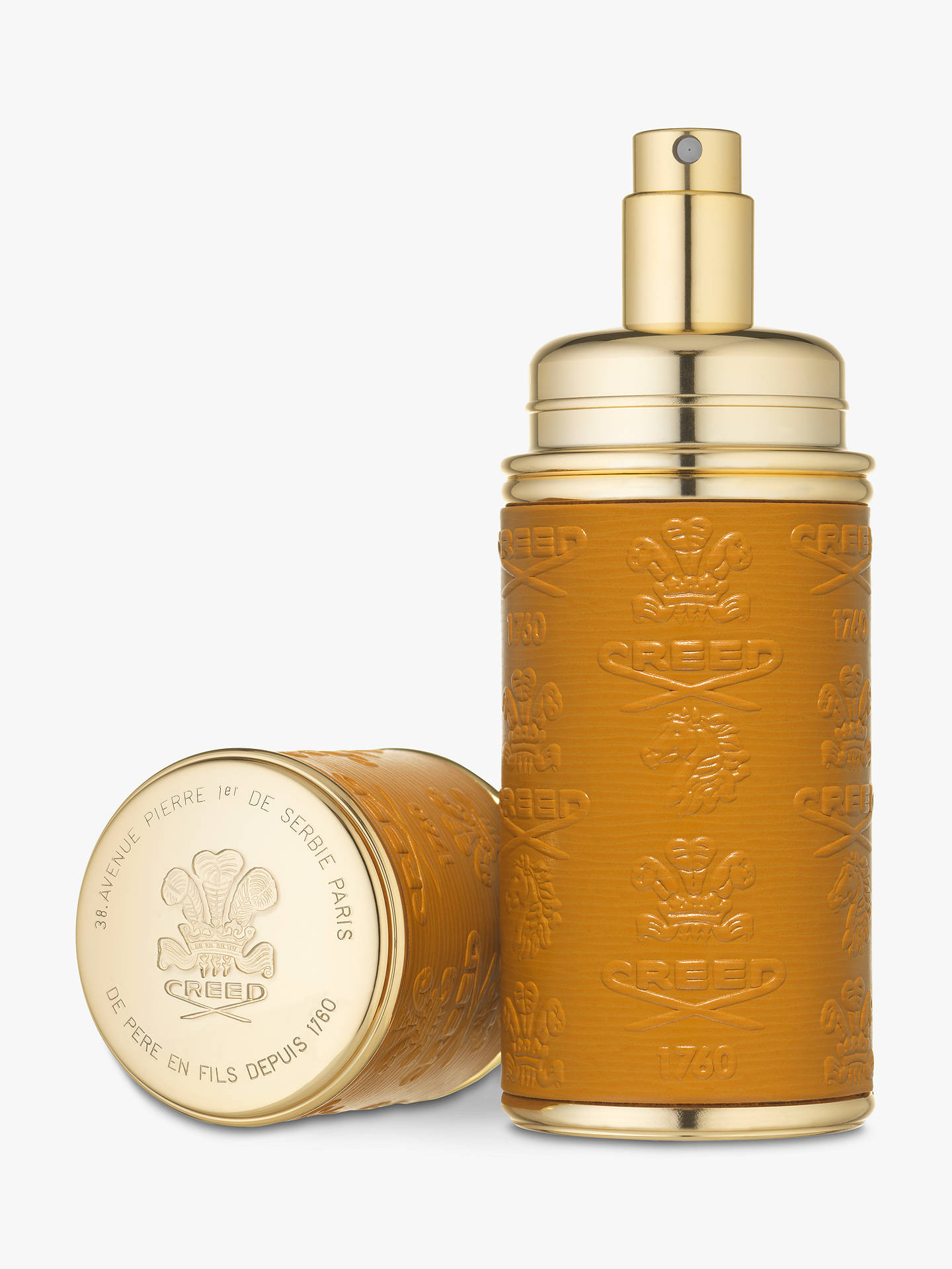 BuyCREED Gold Trim Leather Bound Refillable Atomiser, 50ml, Camel/Gold Online at johnlewis.com