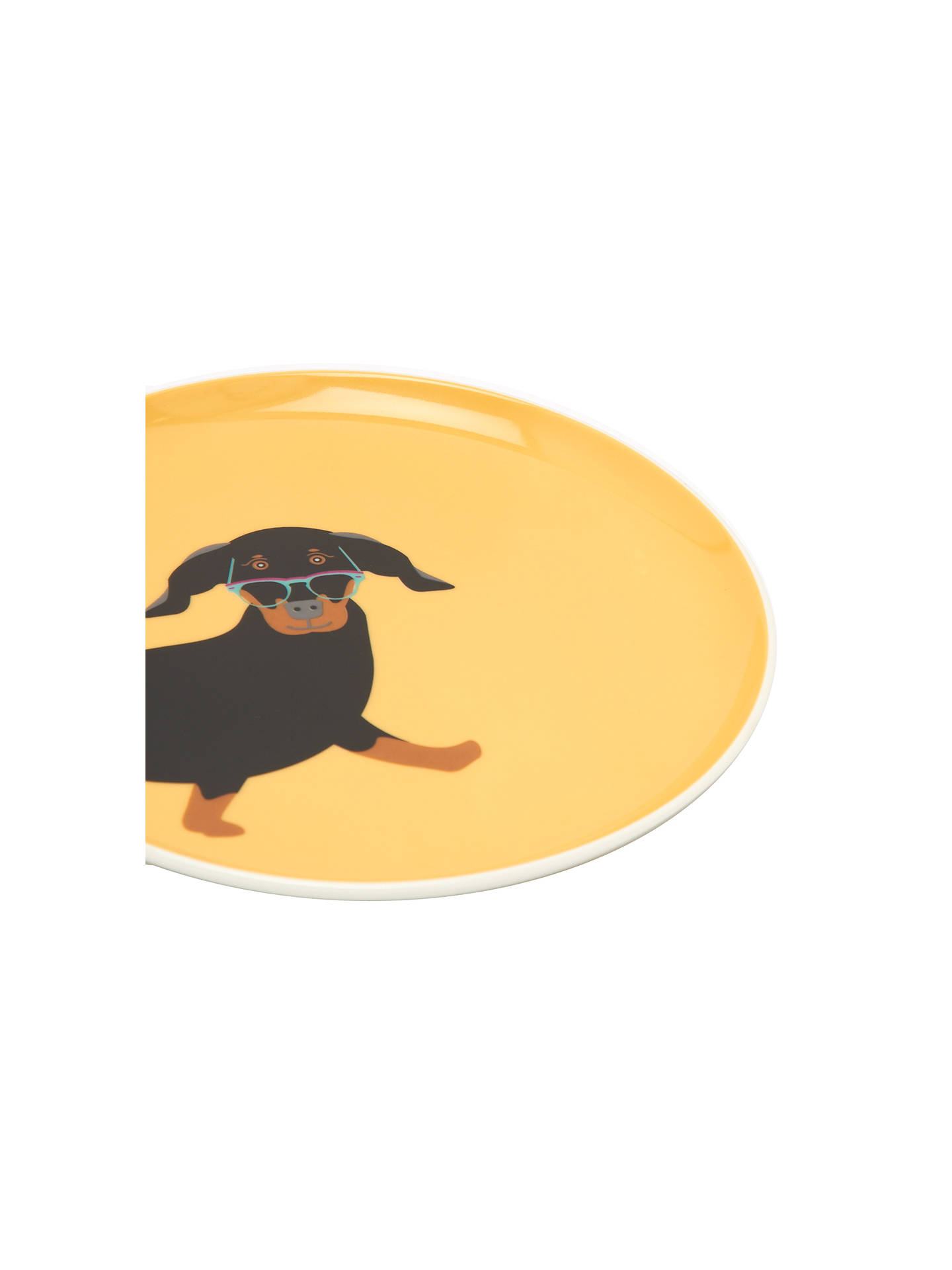 BuyJoules Dachshund Single Side Plate, Yellow Online at johnlewis.com