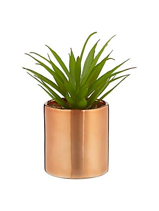 John Lewis & Partners Artificial Cactus in Metallic Pot, 7 inches