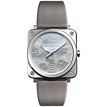 Buy Bell & Ross BRS-CAMO-ST Unisex Date Satin Strap Watch, Grey/Camouflage Mother of Pearl Online at johnlewis.com