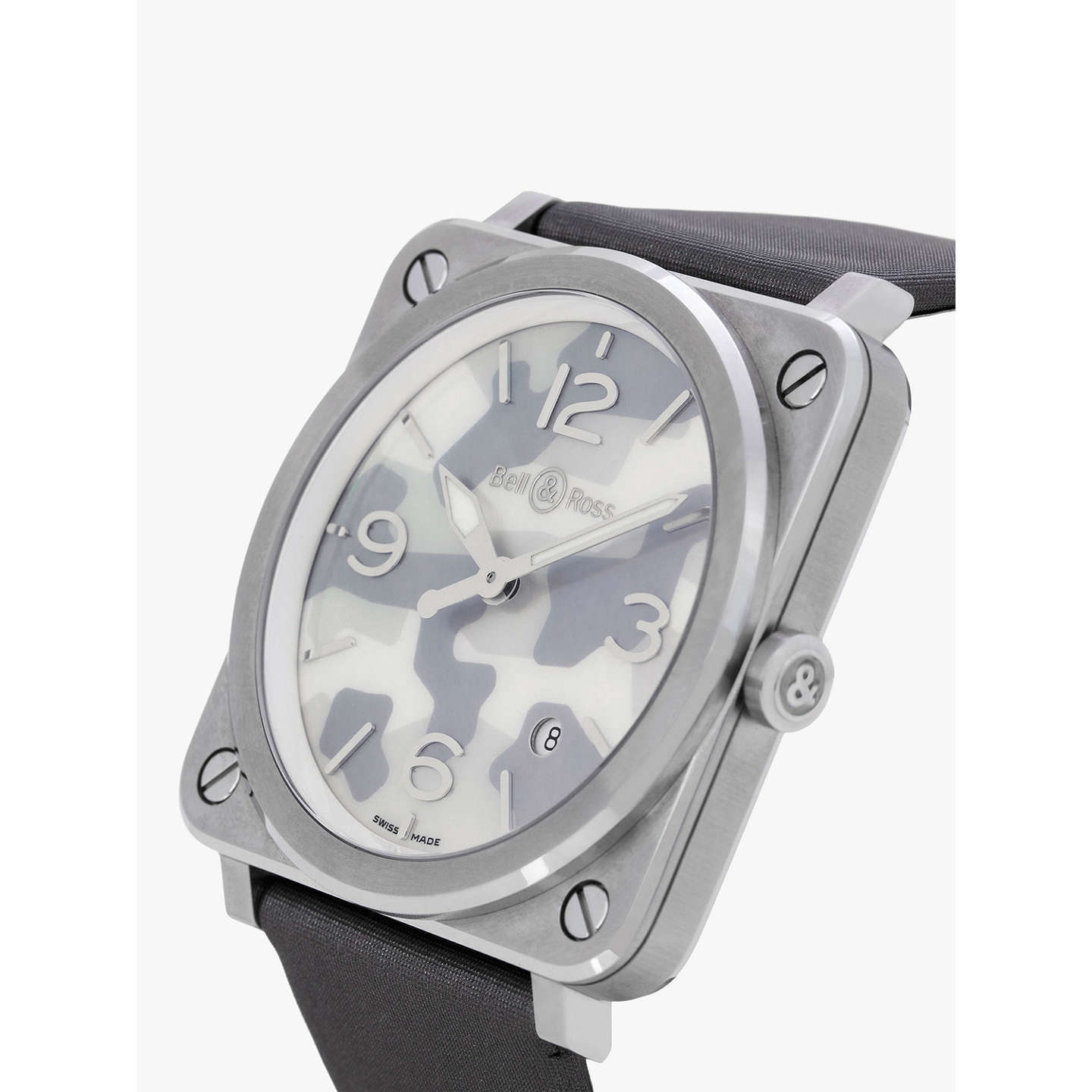 Bell & Ross BRS CAMO ST Uni Date Satin Strap Watch Grey