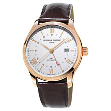 Buy Frédérique Constant FC-350V5B4 Men's Classics Index GMT Date Leather Strap Watch, Brown/White Online at johnlewis.com