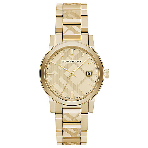 Buy Burberry BU9038 Women's The City Date Bracelet Strap Watch, Gold Online at johnlewis.com