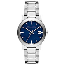 Buy Burberry BU9031 Men's The City Date Bracelet Strap Watch, Silver/Blue Online at johnlewis.com