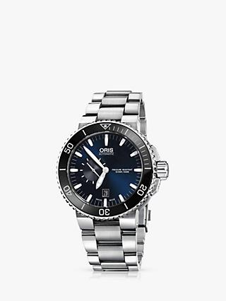 Oris 01 733 7653 4137-07 8 26 01PEB Men's Aquis Small Second Date Bracelet Strap Watch, Silver/Midnight Blue