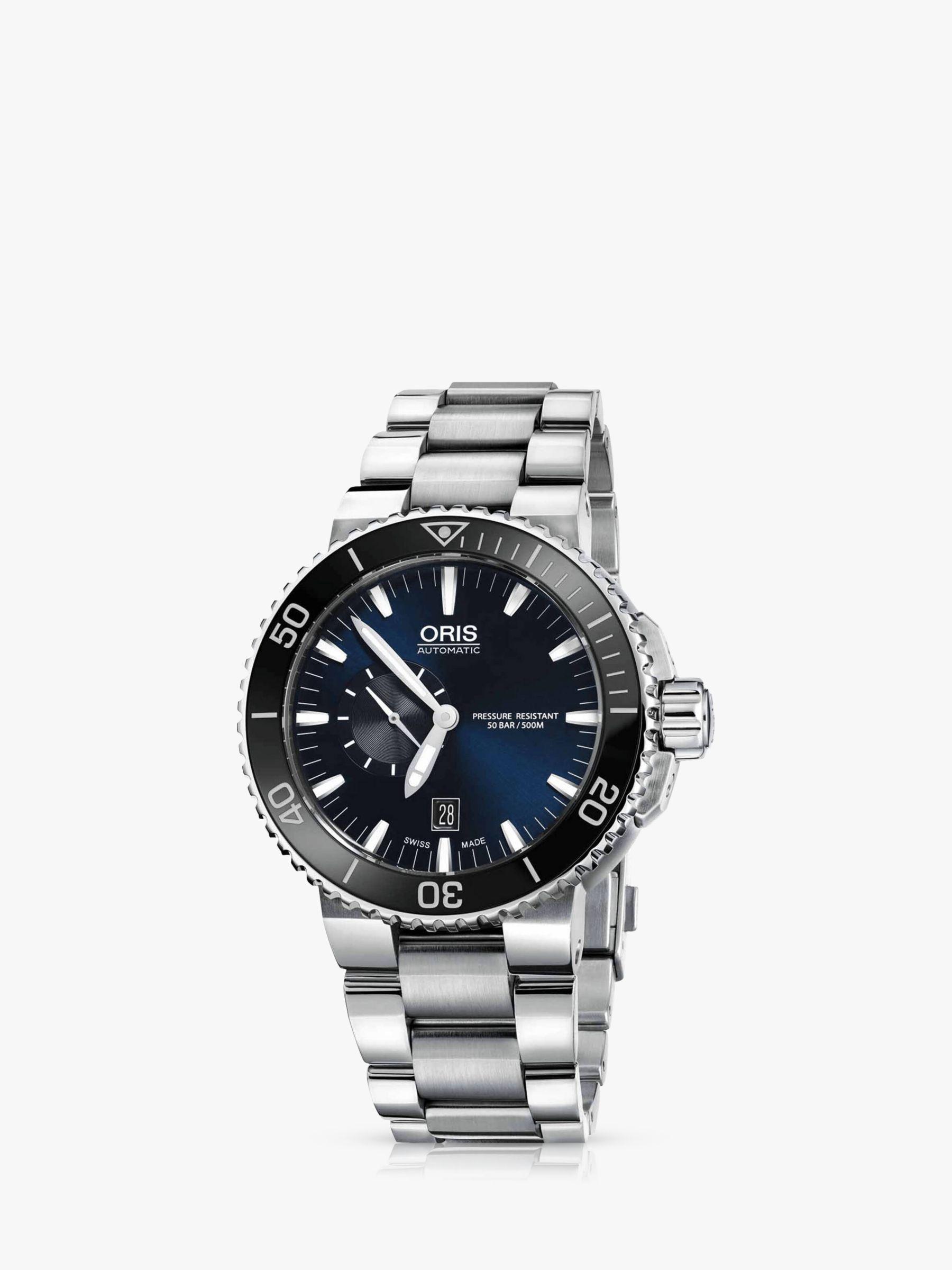 Oris Oris 01 733 7653 4137-07 8 26 01PEB Men's Aquis Small Second Date Bracelet Strap Watch, Silver/Midnight Blue