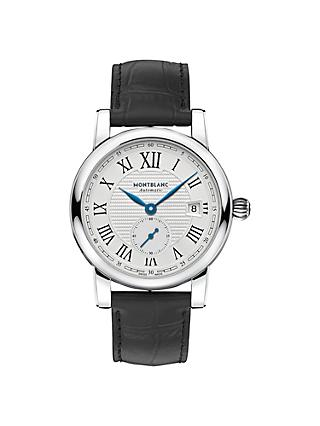 Montblanc 111881 Men's Star Date Alligator Leather Strap Watch, Black/White
