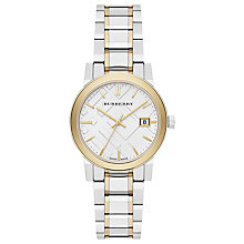 Buy Burberry BU9115 Women's The City Date Two Tone Bracelet Strap Watch, Gold/Silver Online at johnlewis.com