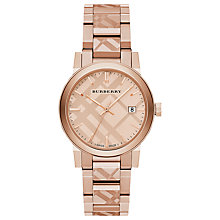 Buy Burberry BU9039 Women's The City Date Bracelet Strap Watch, Rose Gold Online at johnlewis.com