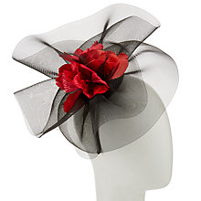 Buy John Lewis Megan Rosebud Crin Fascinator, Black/Red Online at johnlewis.com