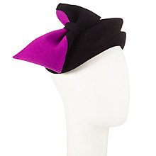 Buy Whiteley Ivy Pillbox and Bow Felt Beret, Black/Pink Online at johnlewis.com