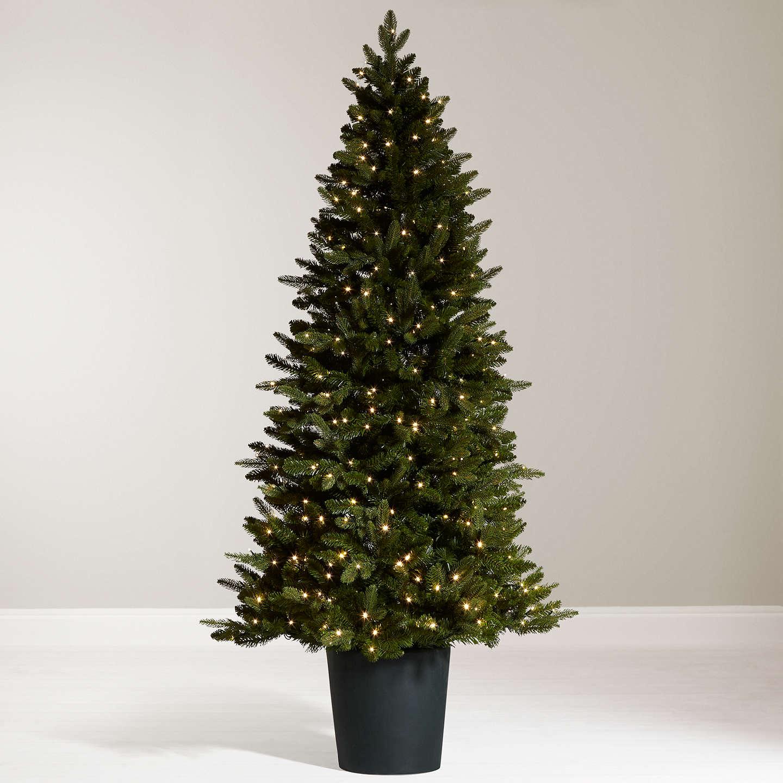 7ft Black Pre Lit Christmas Tree: John Lewis Bala Pre-Lit Potted Fir Christmas Tree, 7ft At