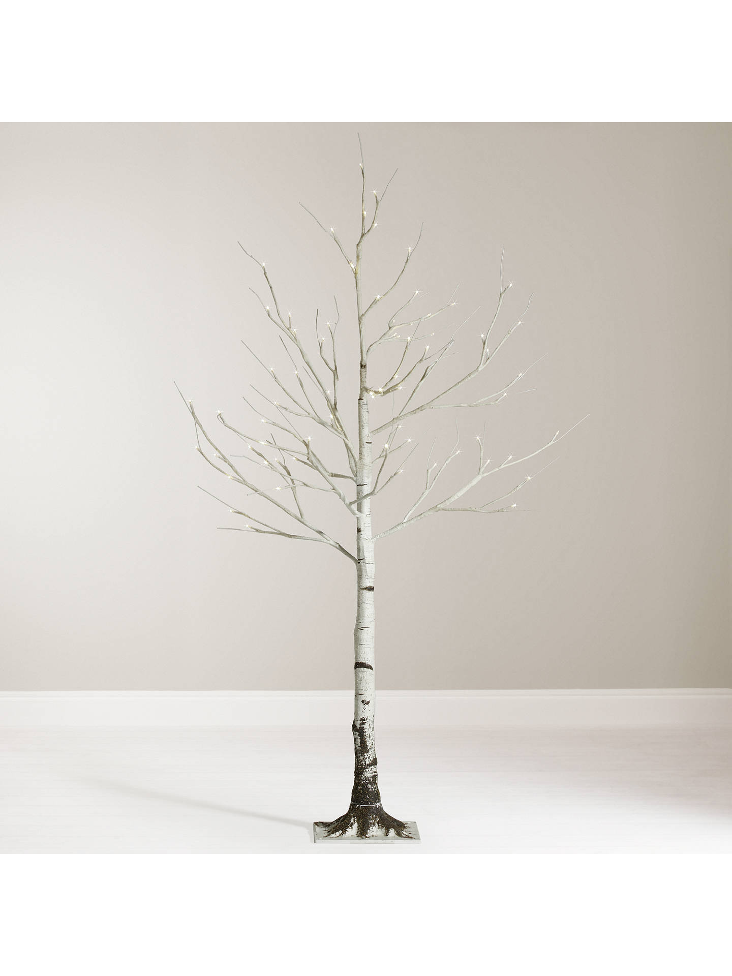 official photos f2e35 f52b3 John Lewis 4ft Pre-Lit Mossy Birch Christmas Tree, White at ...