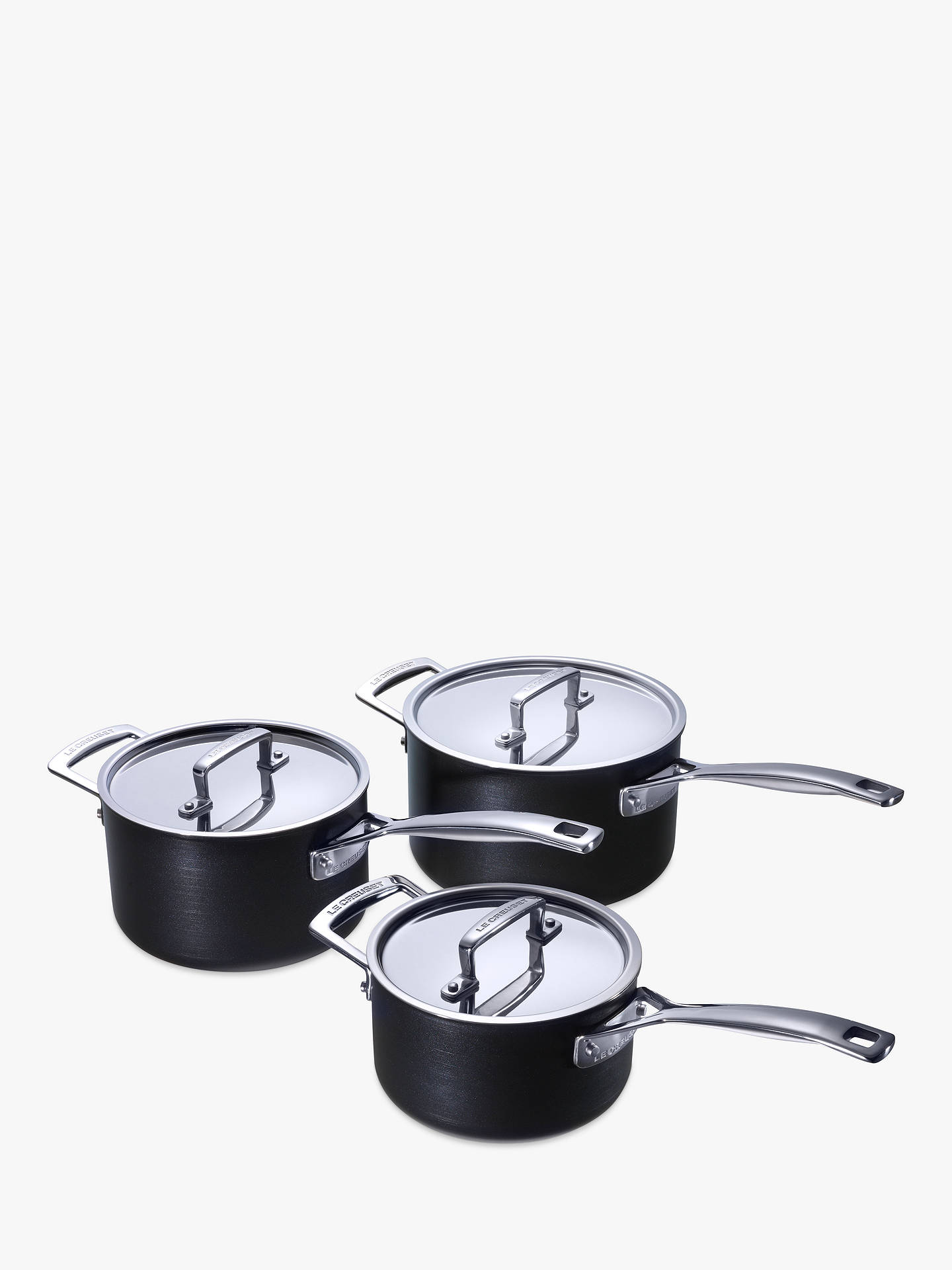 le creuset professional hard anodised 3 piece saucepan set. Black Bedroom Furniture Sets. Home Design Ideas