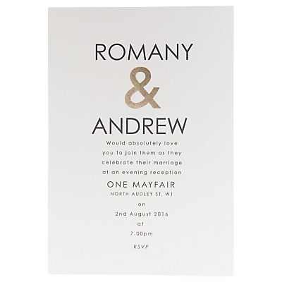 Image of Abigail Warner Ampersand Personalised Evening Invitations, Pack of 60