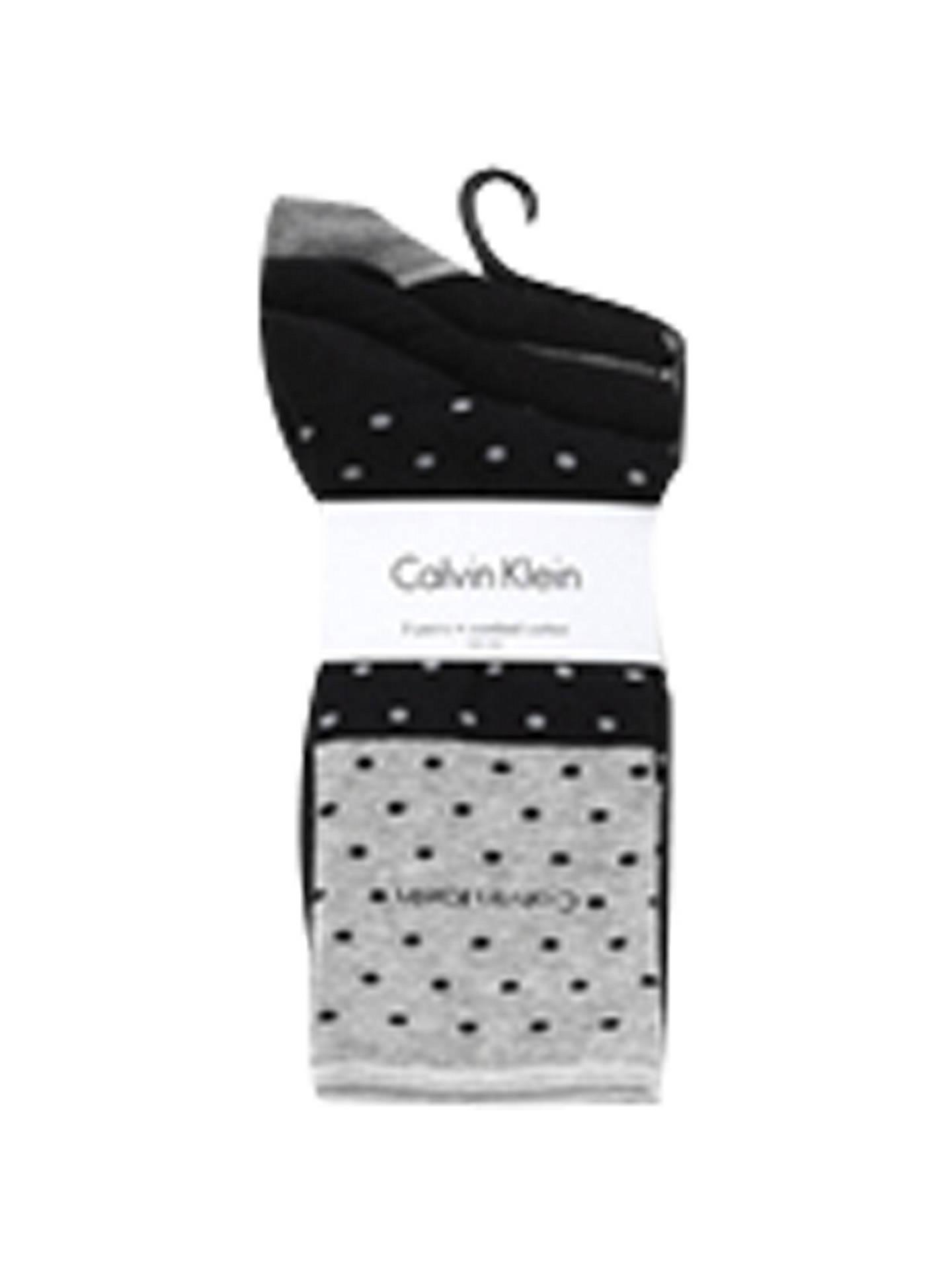 225f072b8814c Buy Calvin Klein Dot and Stripe Roll Top Ankle Socks, Black/Grey Online at  ...