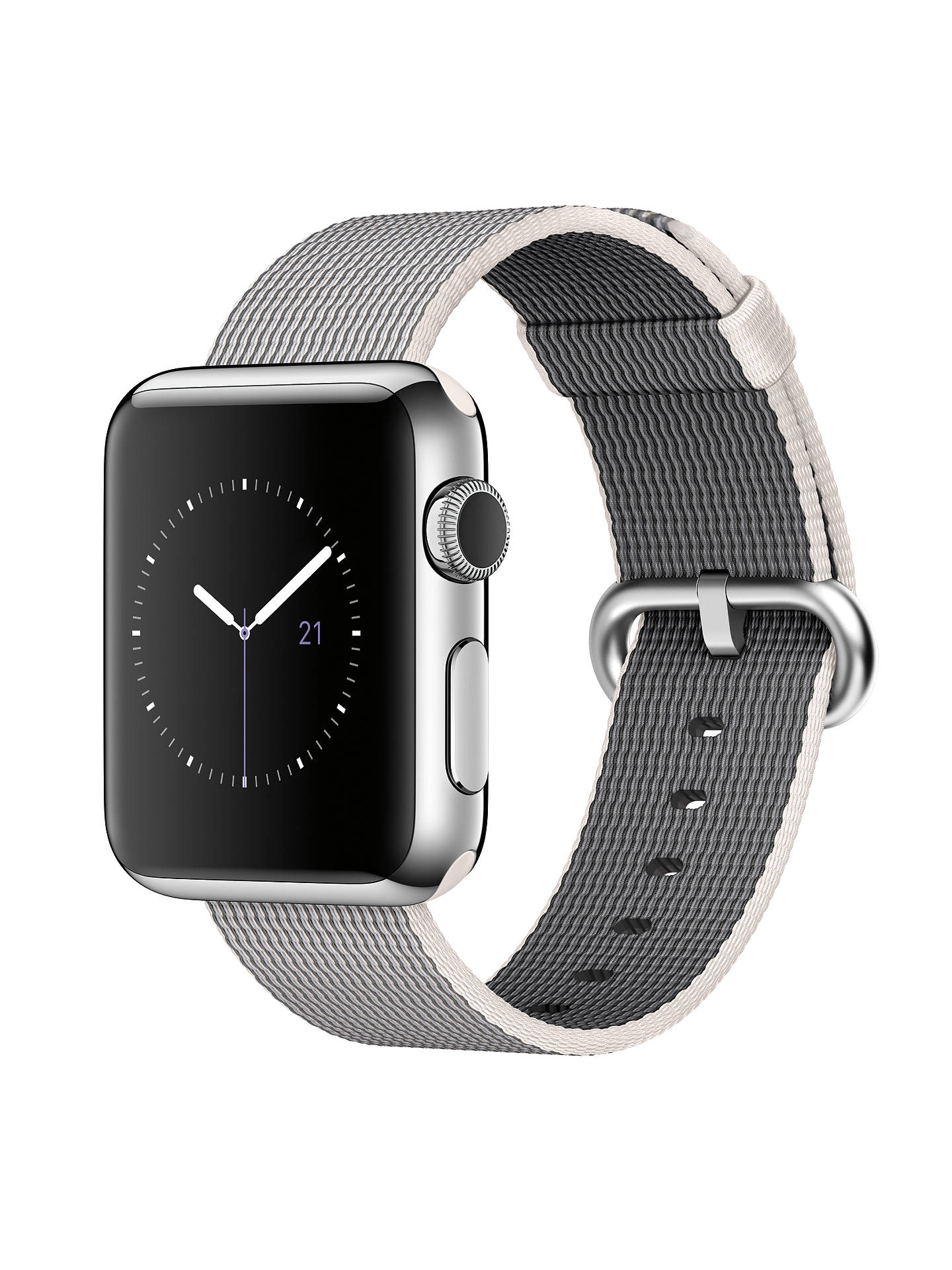 Buy Apple Watch 1st Gen 38mm Stainless Steel Case & Woven Nylon Band, Pearl Online at johnlewis.com
