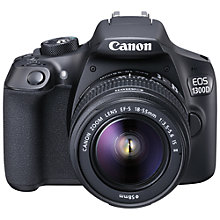 "Buy Canon EOS 1300D Digital SLR Camera With 18-55mm IS II Lens, HD 1080p, 18MP, Wi-Fi, NFC,  3"" LCD Screen Online at johnlewis.com"