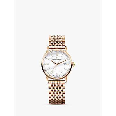 Maurice Lacroix EL1094-PVP06-111-1 Women's Eliros Date Bracelet Strap Watch, Rose Gold/White
