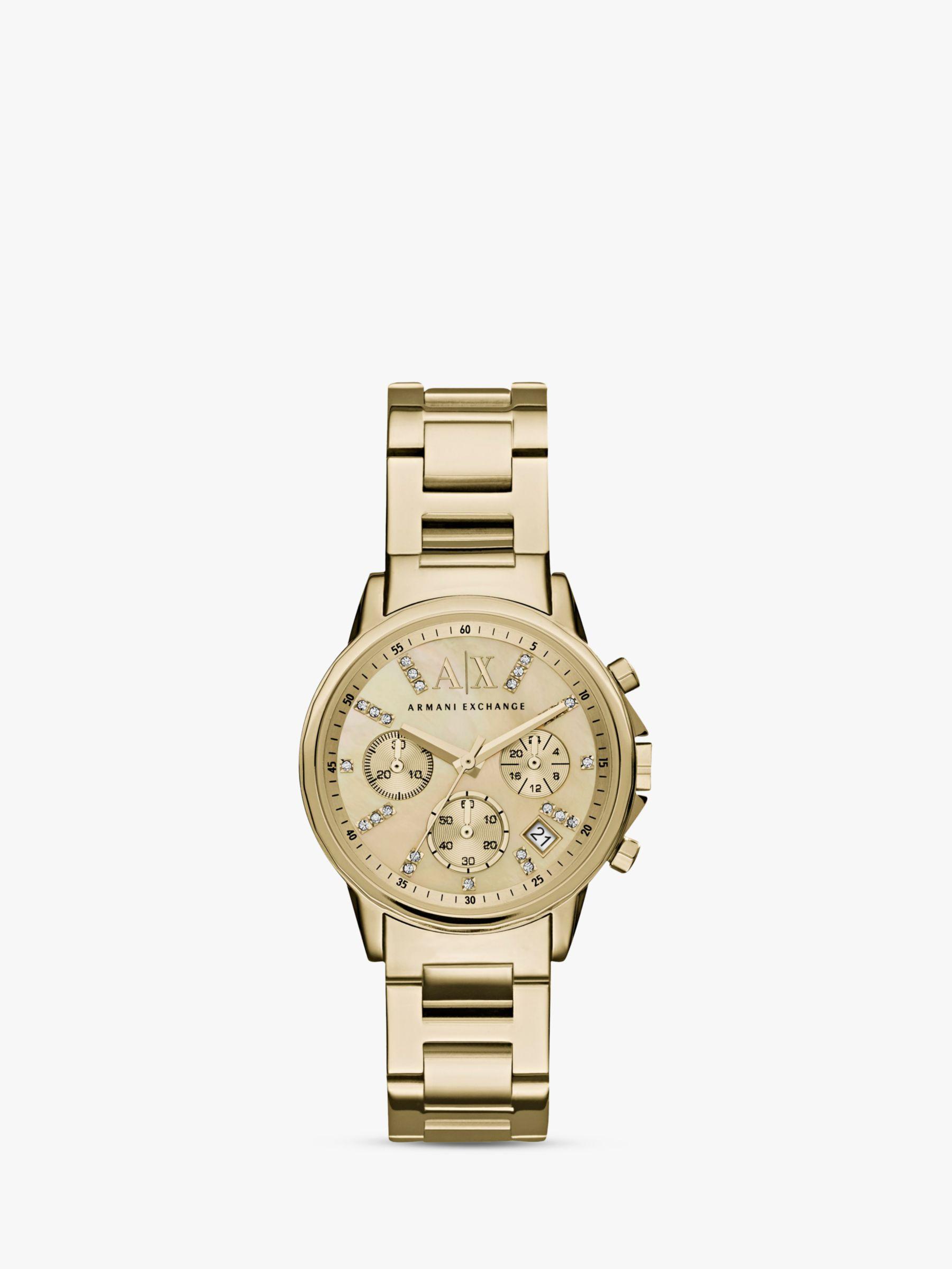 Armani Exchange Armani Exchange AX4327 Women's Crystal Chronograph Date Bracelet Strap Watch, Gold
