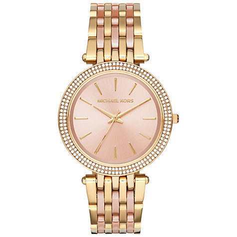 michael kors women s watches john lewis buy michael kors mk3507 women s darci two tone bracelet strap watch gold rose gold