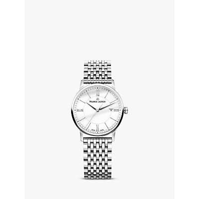 Maurice Lacroix EL1094-SS002-110-1 Women's Eliros Date Bracelet Strap Watch, Silver/White