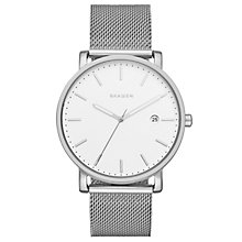 Buy Skagen SKW6284 Men's Hagen Date Mesh Bracelet Strap Watch, Silver/White Online at johnlewis.com