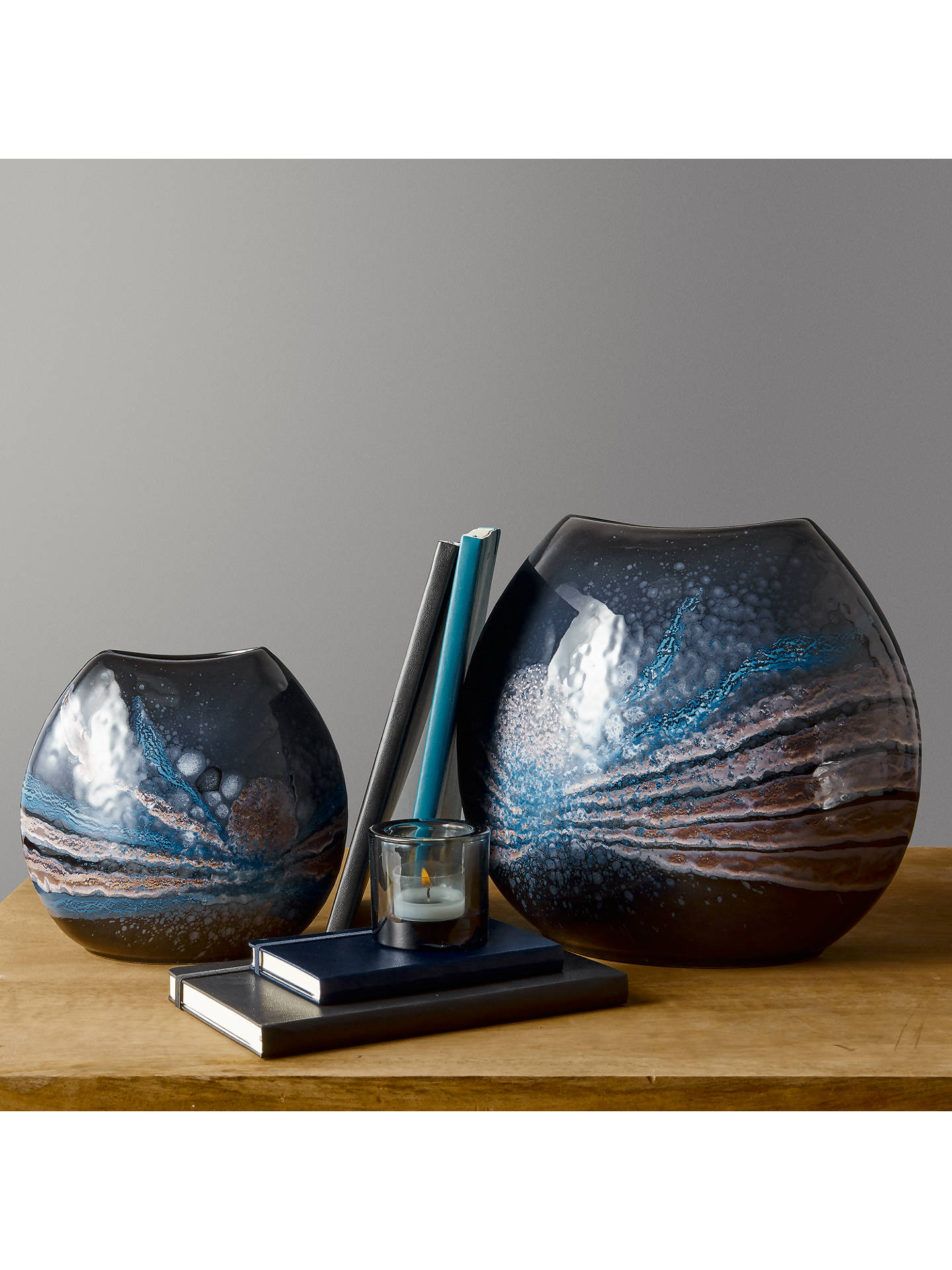 BuyPoole Pottery Celestial Purse Vase, H20cm, Grey/ Blue Online at johnlewis.com