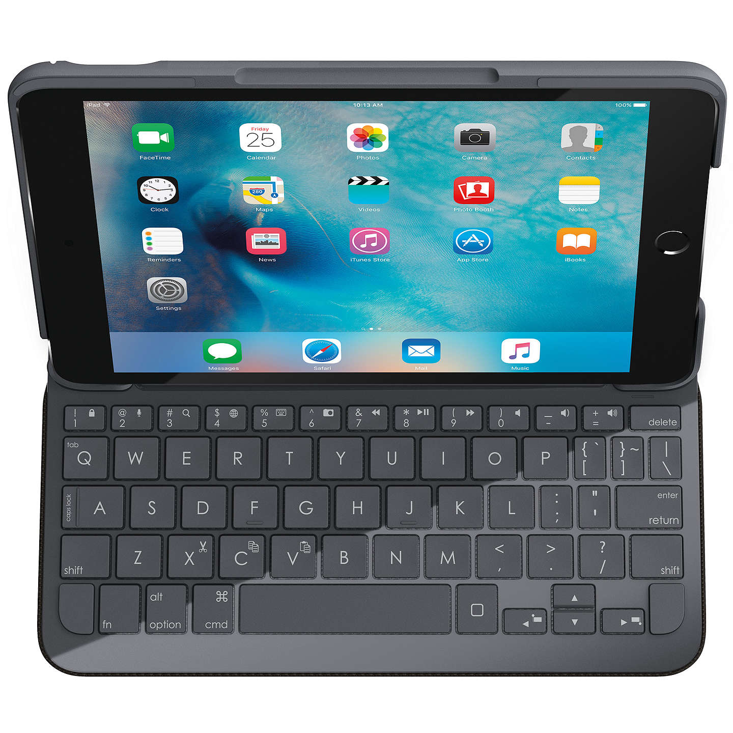 BuyLogitech Focus Protective Case with Integrated Keyboard for iPad mini 4, Black Online at johnlewis.com