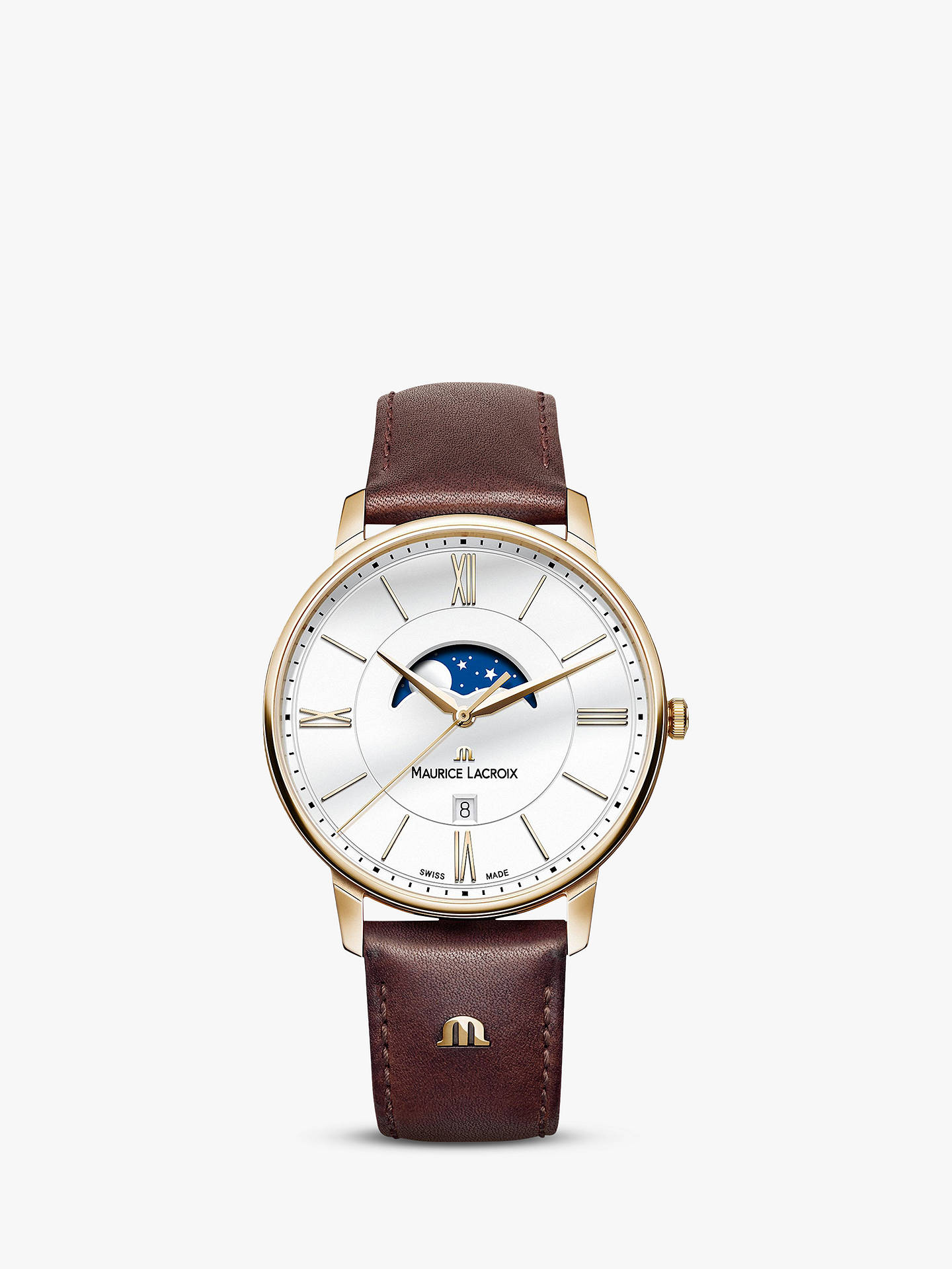 a86b2d0a Maurice Lacroix EL1108-PVP01-112-1 Men's Eliros Moon Phase Date Leather  Strap Watch, Brown/White