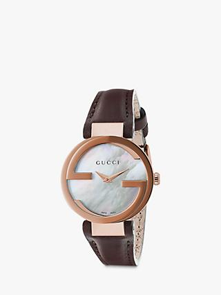 24aec6f3da2 Gucci YA133516 Women s Interlocking G Leather Strap Watch