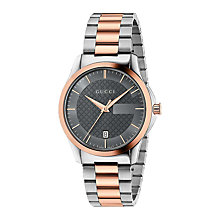 Buy Gucci YA126446 Men's G-Timeless Date Two Tone Bracelet Strap Watch, Silver/Rose Gold Online at johnlewis.com