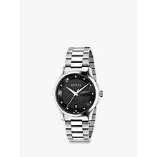 Buy Gucci YA126456 Men's G-Timeless Diamond Date Bracelet Strap Watch, Silver/Black Online at johnlewis.com