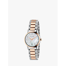 Buy Gucci YA126544 Women's G-Timeless Date Diamond Bracelet Strap Watch, Silver/Rose Gold Online at johnlewis.com