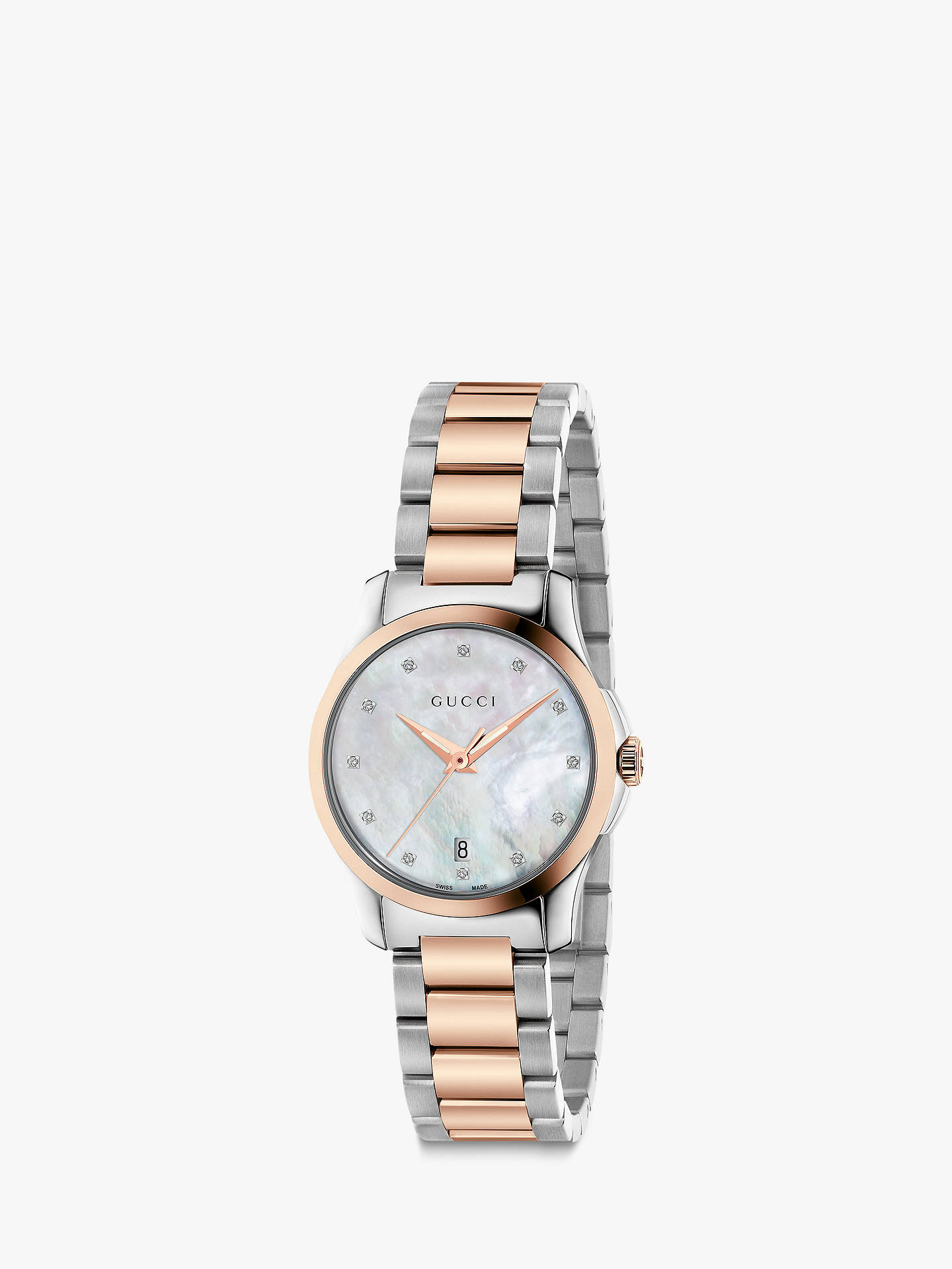 cfc3dd6f599 Gucci YA126544 Women s G-Timeless Date Diamond Bracelet Strap Watch ...