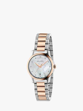 Gucci YA126544 Women's G-Timeless Date Diamond Bracelet Strap Watch, Silver/Rose Gold