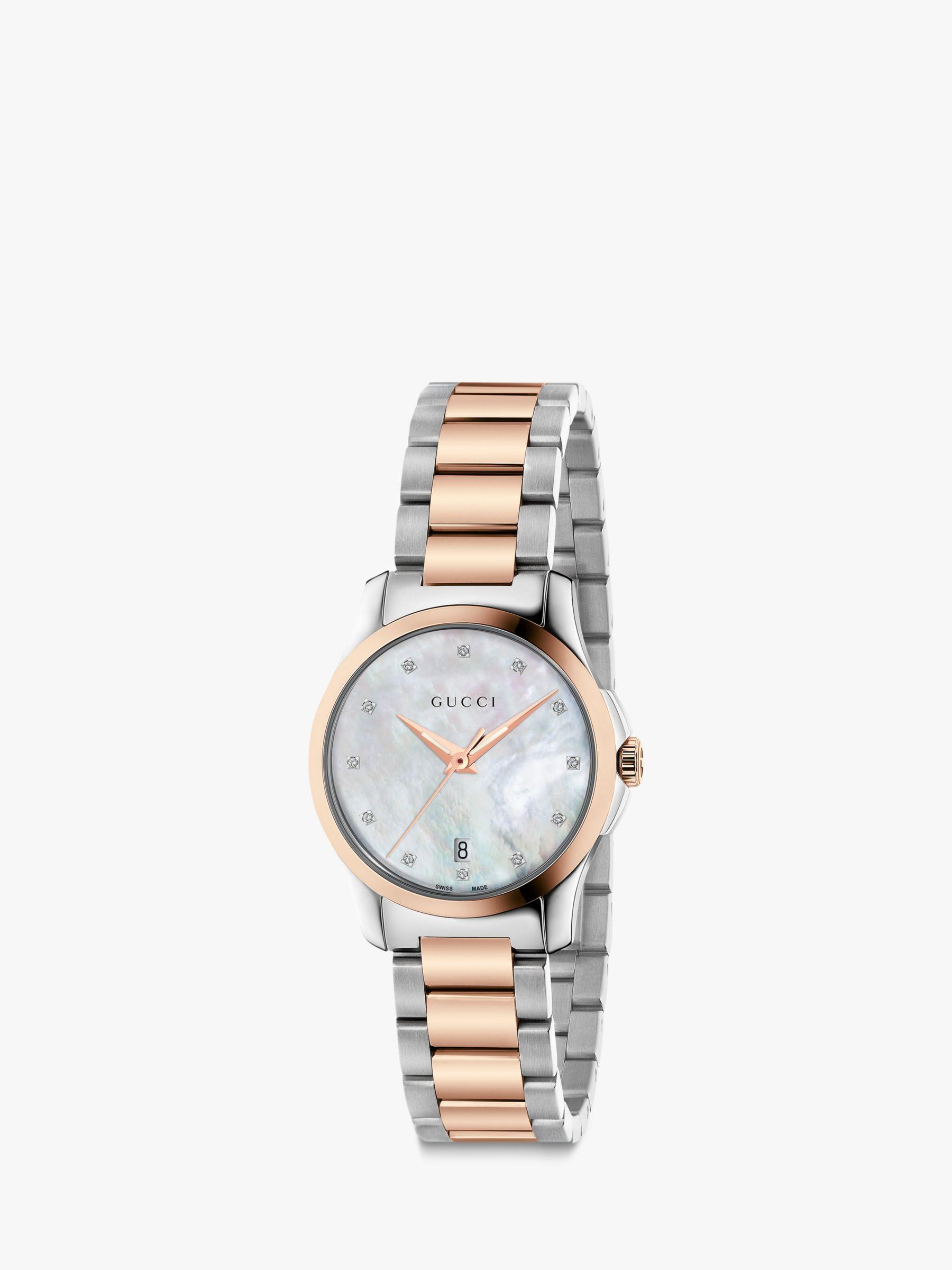 Gucci Gucci YA126544 Women's G-Timeless Date Diamond Bracelet Strap Watch, Silver/Rose Gold