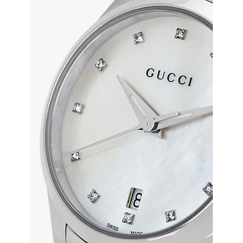 Buy Gucci YA Women s G Timeless Diamond Date Bracelet Strap