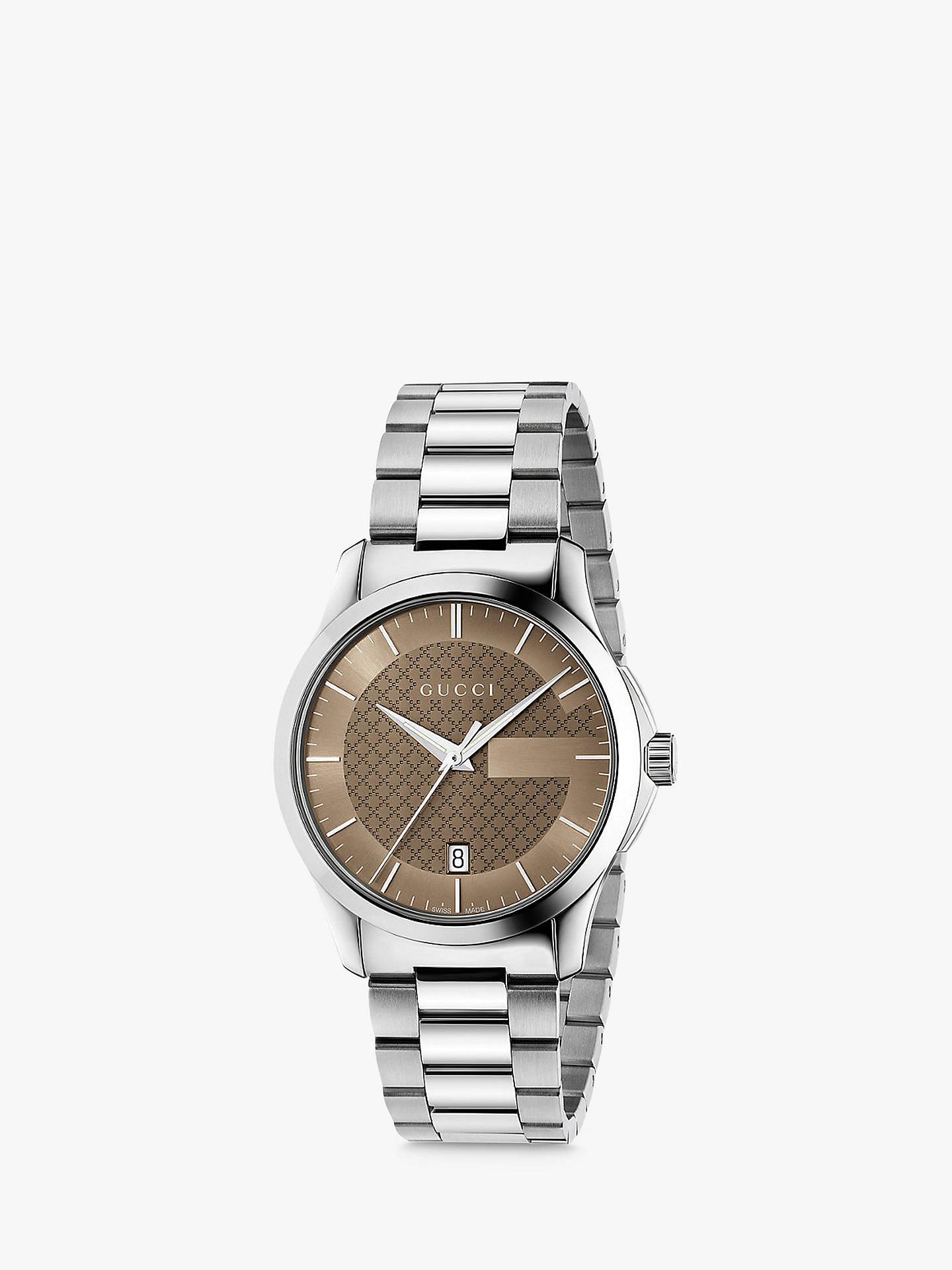 3596bfee681 Buy Gucci YA126445 Men s G-Timeless Date Bracelet Strap Watch