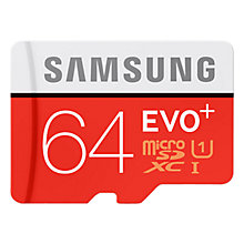 Buy Samsung Evo Plus micro SD Memory Card, 64GB, 80MB/s Read, with SD Adapter Online at johnlewis.com
