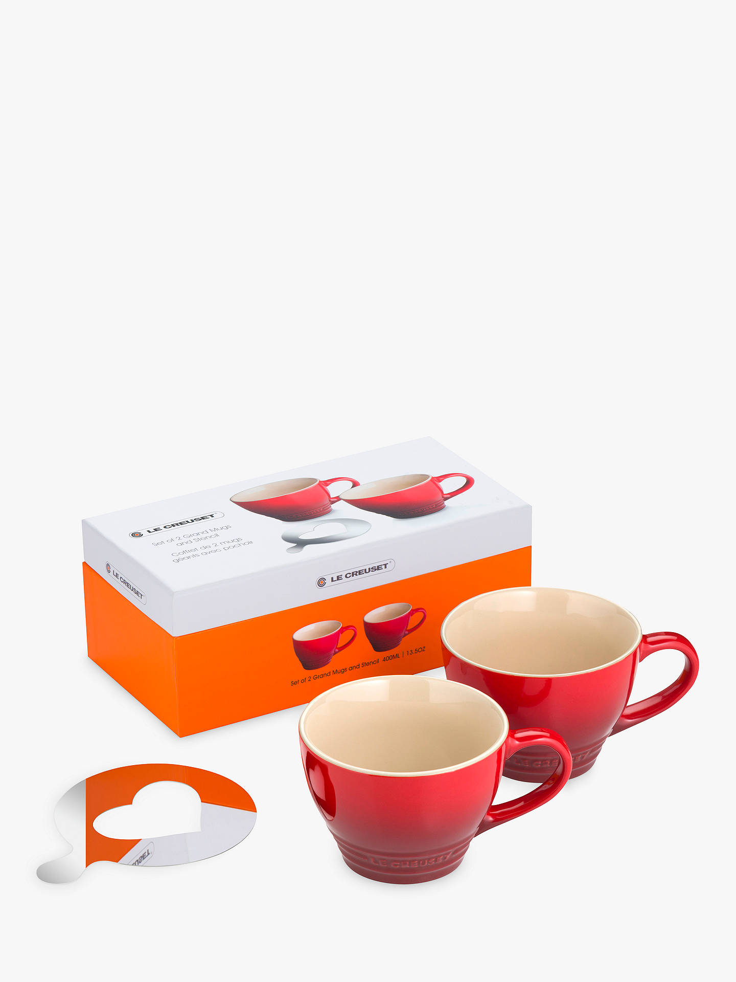 Buy Le Creuset Grand Mug and Heart Stencil, Set of 2, Cerise, 400ml Online at johnlewis.com