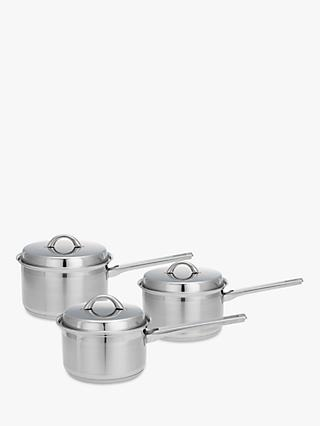 John Lewis & Partners Classic Stainless Steel Lidded Saucepan Set, 3 Piece