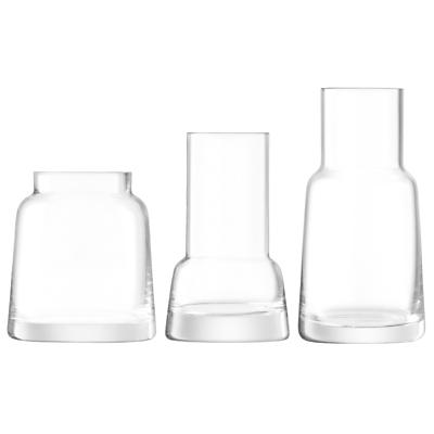 LSA International Chimney Mini Vases, Set of 3, Clear