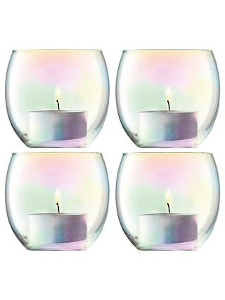 LSA International Pearl Tealight Holder & Candles, Set of 4