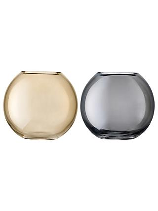 LSA International Polka Vase Duo, H11cm, Bronze & Zinc