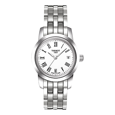 Tissot T0332101101300 Women's Classic Dream Date Bracelet Strap Watch, Silver/White