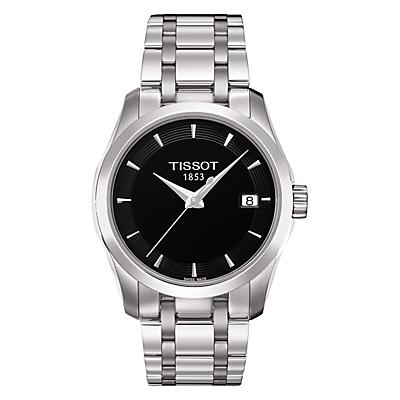 Tissot T0352101105100 Women's Couturier Date Bracelet Strap Watch, Silver/Black